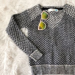 ANTHROPOLOGIE black+grey knitted crew neck sweater